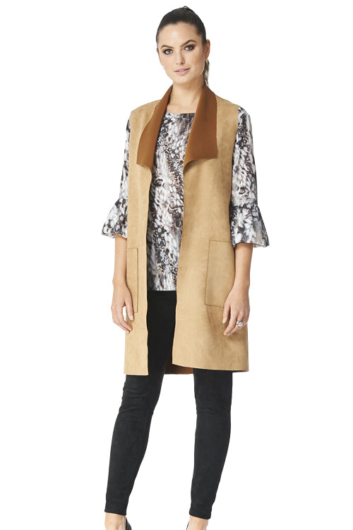 Arizona - 5301 - Bonded Faux Suede Long Vest