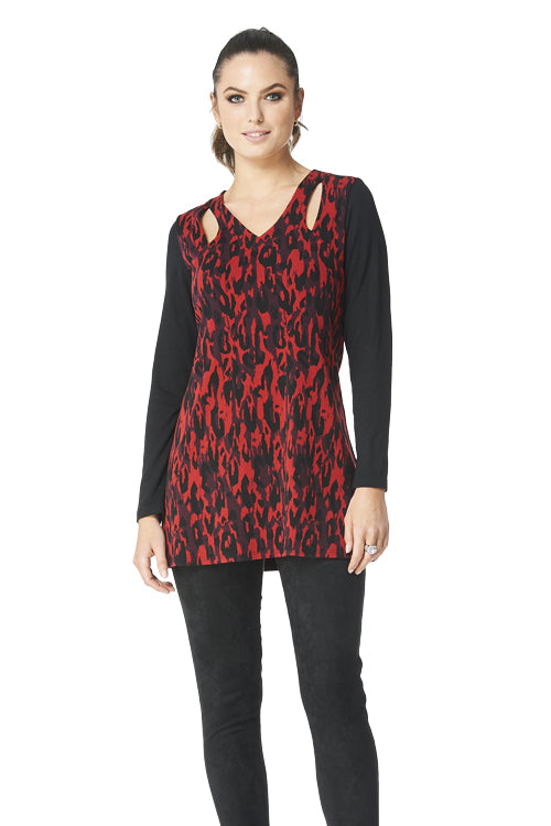 Kristy - 9080 -  Jacquard Cut Out Tunic