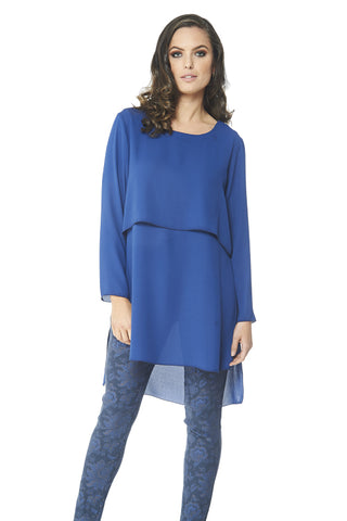 Clara - 9454 - Long Sleeve Crepe Tunic