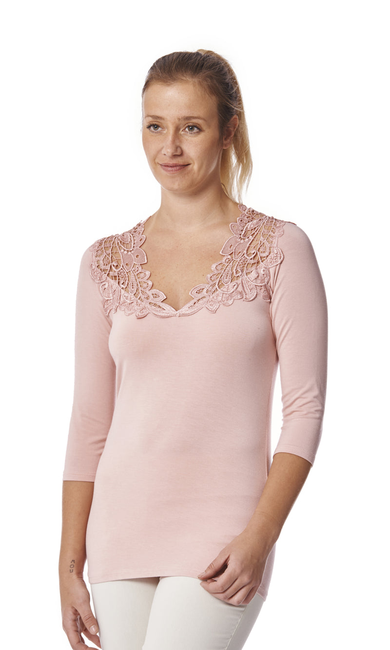 Teri 3/4 Sleeve Top with Lace