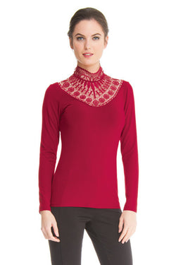 Teri - 9757 - Long Sleeves High Collar Top