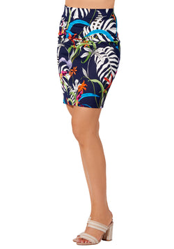 Amazonia - 3783 - Jungle Floral Printed Scuba Skirt