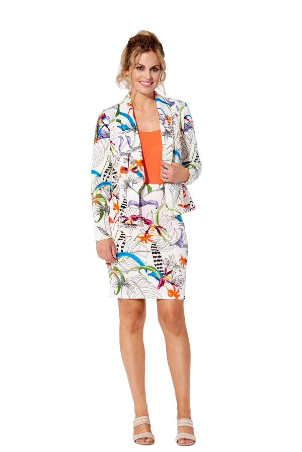 Amazonia - 7783 - Jungle Floral Printed Scuba Jacket