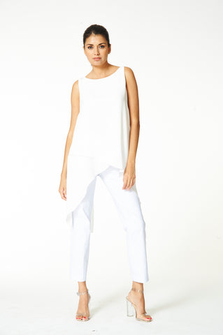 Clara - 9404 - Back Slit Off White Tunic