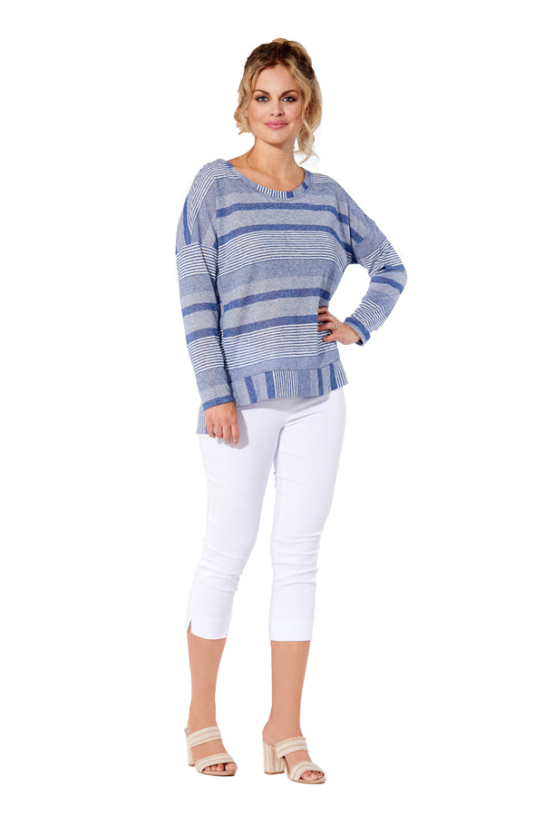 Britt - 7302 - Blue Striped Long Sleeve Top