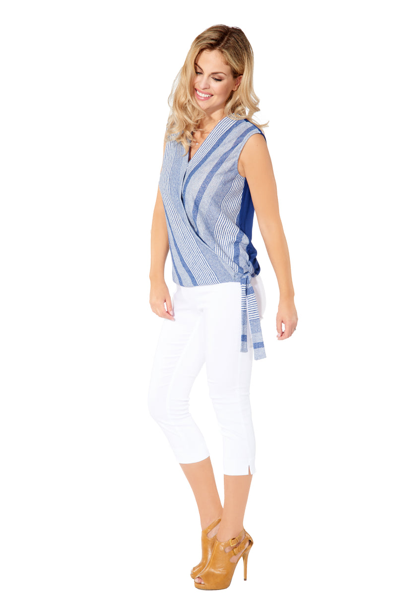 Britt - 5302 - Blue Striped Cross Over Top