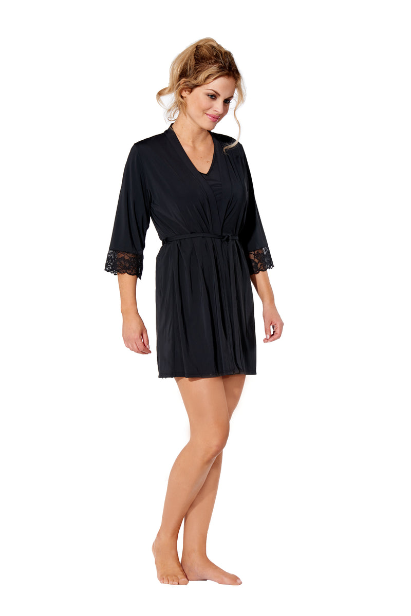 Elle - 8955 - Black Robe with Lace