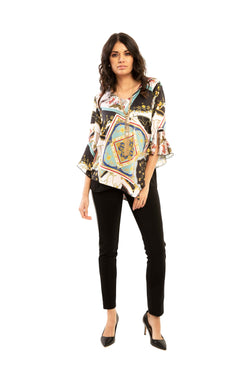 Skyler - 7710 - Skarf and Chains Print Blouse