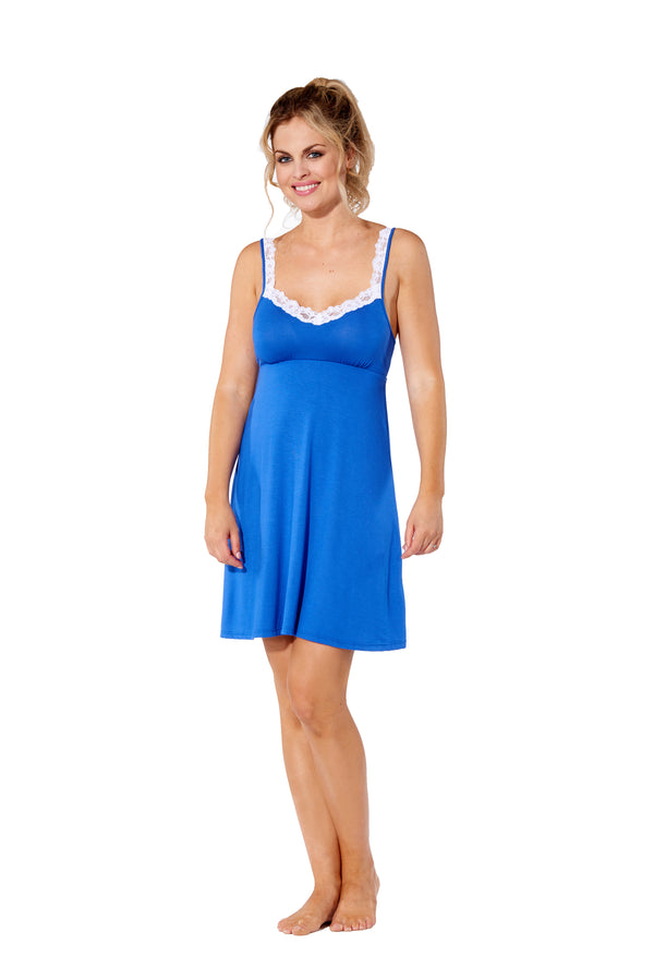 Gwen - 8016 -  Royal Chemise with White Lace Trim