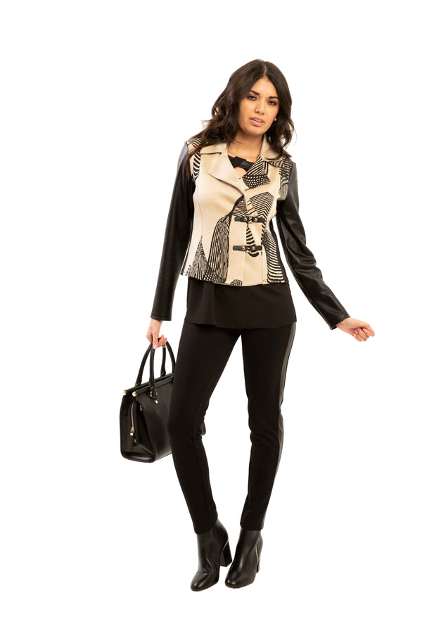 Krista - 7063 - Hello Moto Faux Leather Jacket