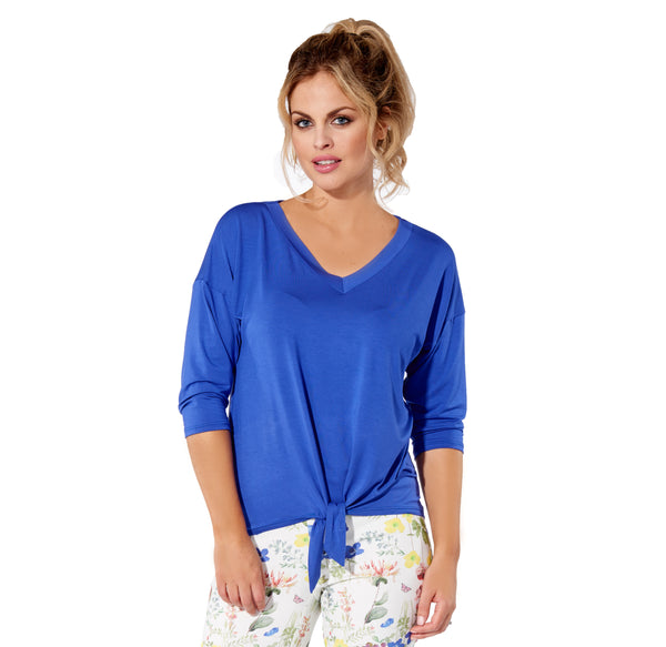 Marie - 7300 -  Cobalt Rayon 3/4 Sleeve Top with Tie