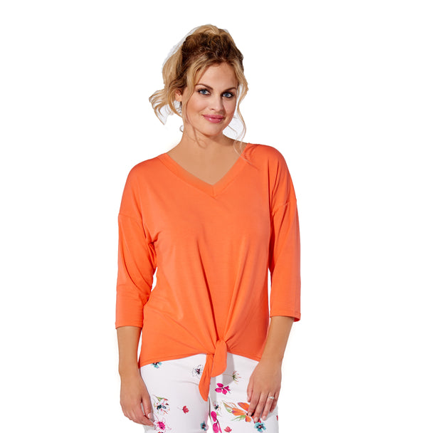 Marie - 7300 -  Papaya Rayon 3/4 Sleeve Top with Tie