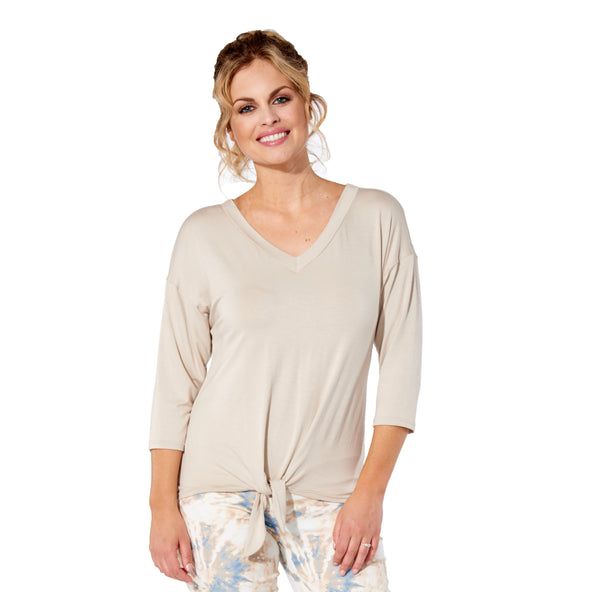 Marie - 7300 -  Sand Rayon 3/4 Sleeve Top with Tie
