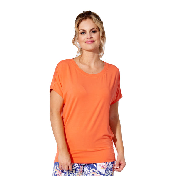 Marie - 7301 -  Solid Rayon Papaya Dolman Sleeve Top