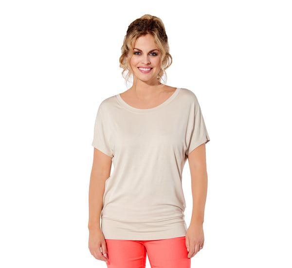 Marie - 7301 -  Solid Rayon Sand Dolman Sleeve Top