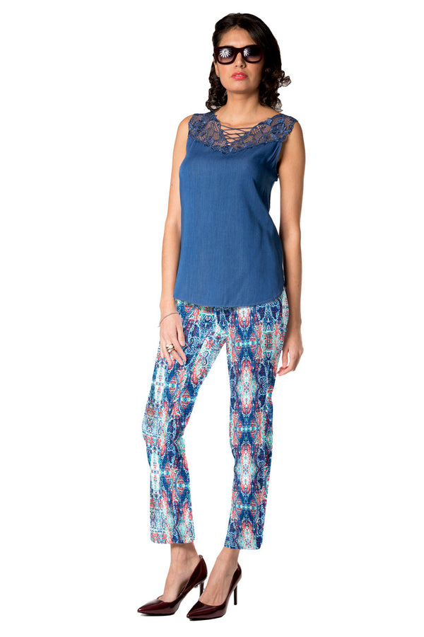 Blake - 4240 - Slimming Pant with Denim Effect Print