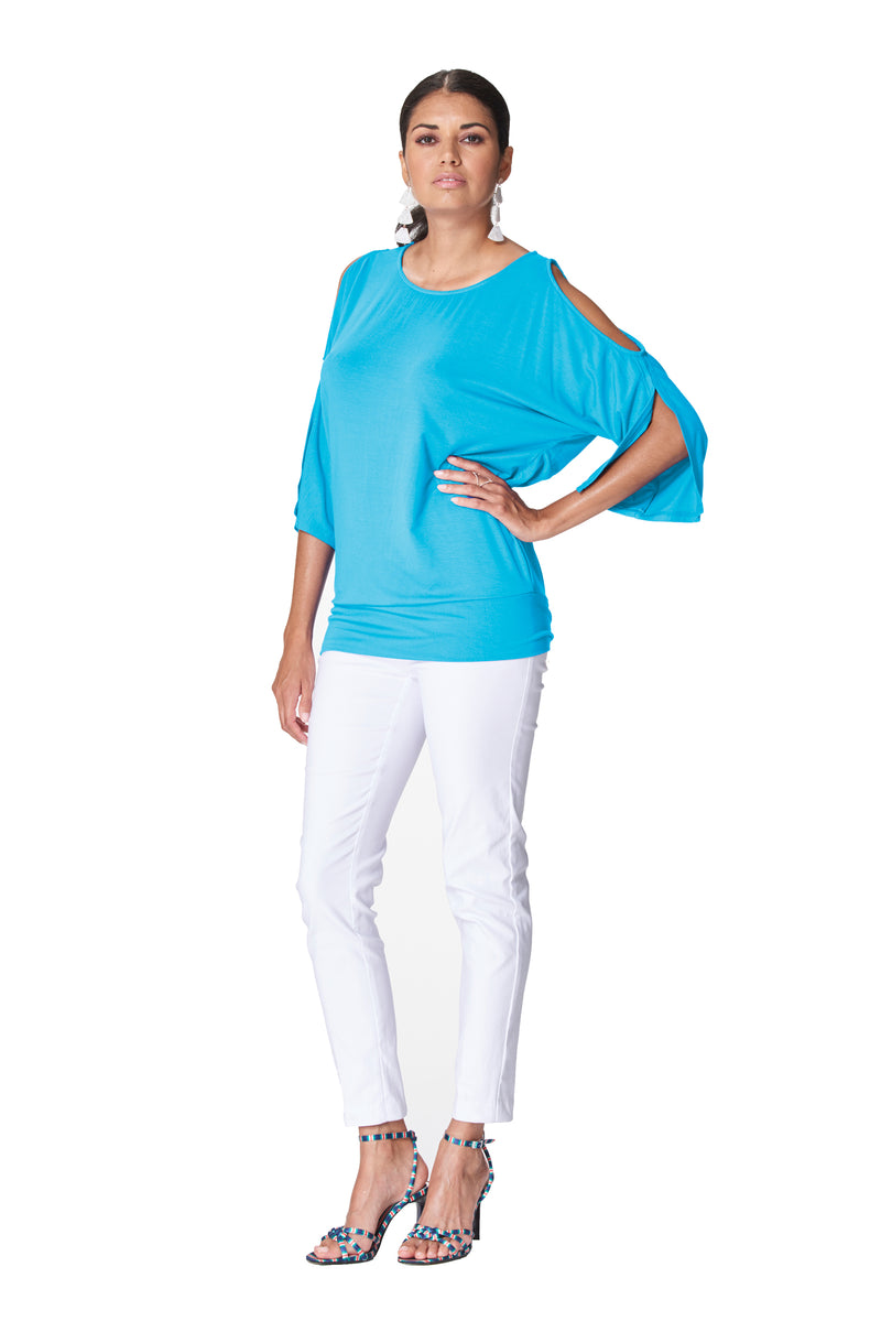 Candice - 7624 - Split 3/4 Sleeve Top