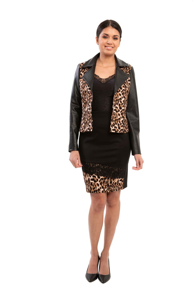 Pandora - 7361 - Leopard Leather Biker Jacket
