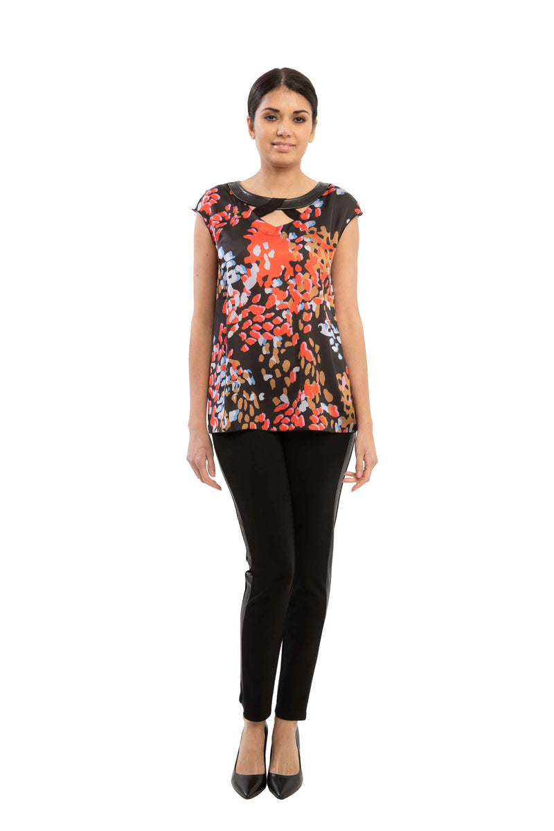 Thea - 7705 -  Cut-Out Round Neck Blouse
