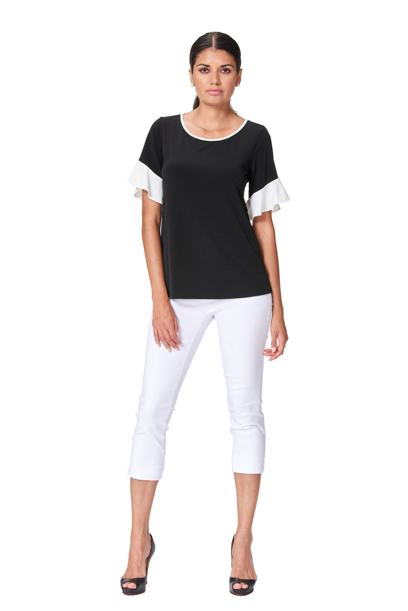 Dallas - 7514 - Black and White Flutter Sleeve Top