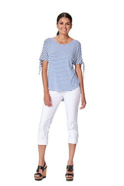 St-Tropez - 7307 - Short Tie Sleeve Stripe Top