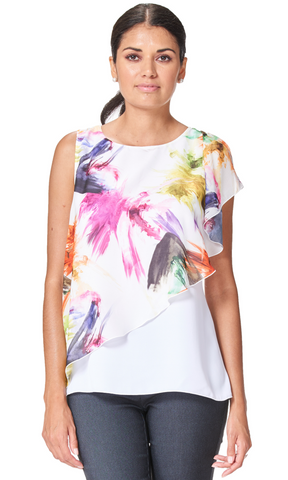 Bondi - 5793- Sleeveless Top with  Printed Chiffon Ruffle
