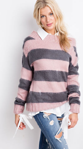Softest PINK stripe Boyfriend SWEATER