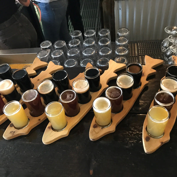 Flights of beer at Kelowna Bike Tour