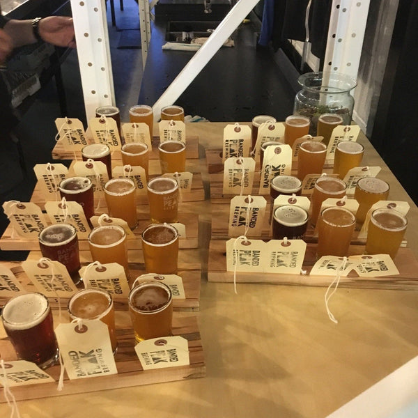 Flights of beer at Calgary Brewery Tour