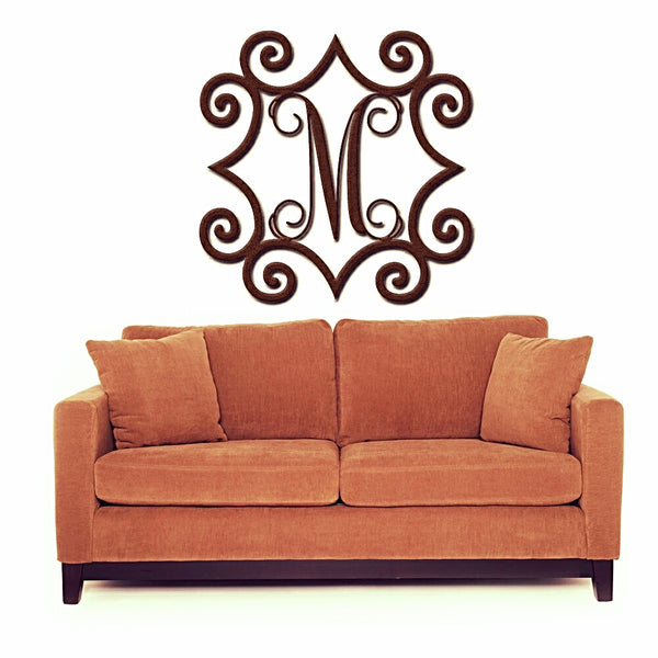 "Large 32"" to 48"" Wrought Iron Inspired Wall Art with Monogram Initial For Indoor/Outdoor Use - Sam's Metal Works - 2"