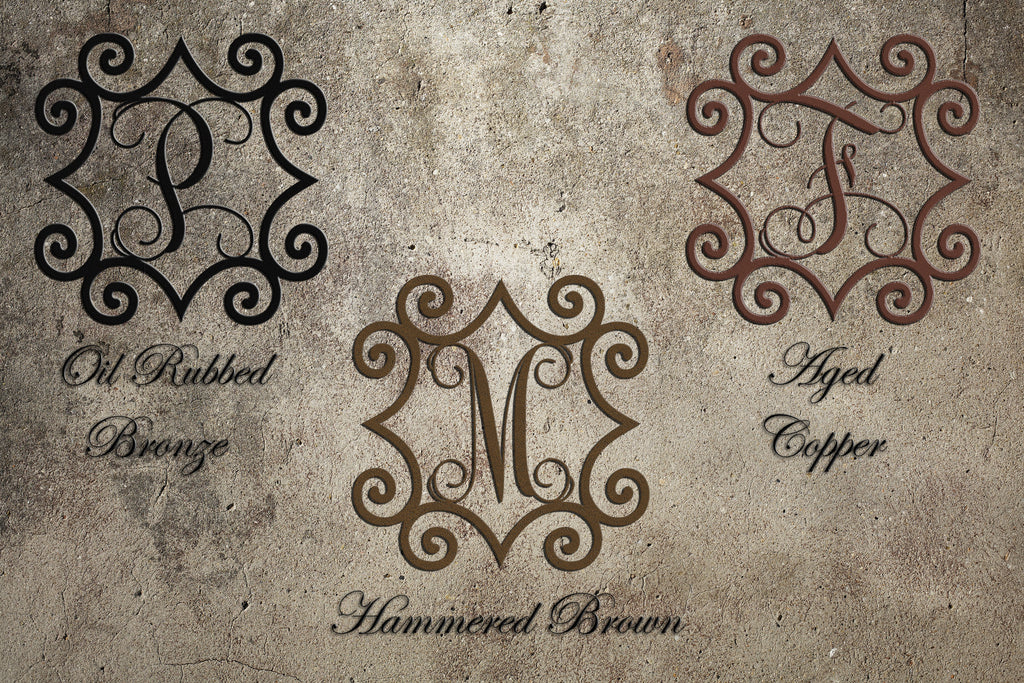 Large 32 To 48 Wrought Iron Inspired Wall Art With Monogram Initial For Indoor Outdoor Use