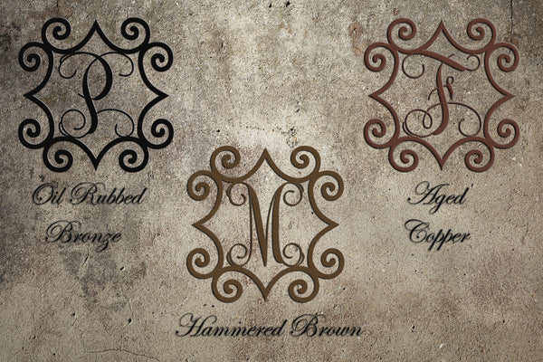 "Large 32"" to 48"" Wrought Iron Inspired Wall Art with Monogram Initial For Indoor/Outdoor Use - Sam's Metal Works - 3"