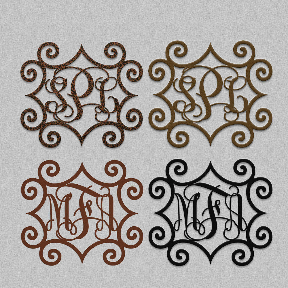 Metal Initials Adorable Wrought Iron Inspired Metal Wall Art With Three Monogrammed Design Inspiration