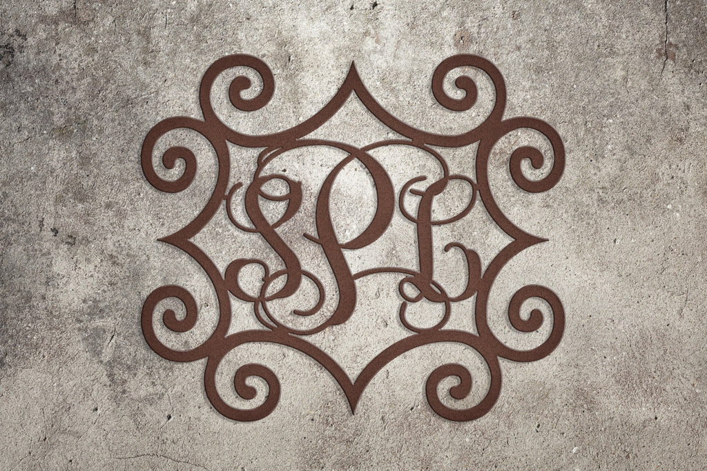 Metal Initials Wrought Iron Inspired Metal Wall Art With Three Monogrammed