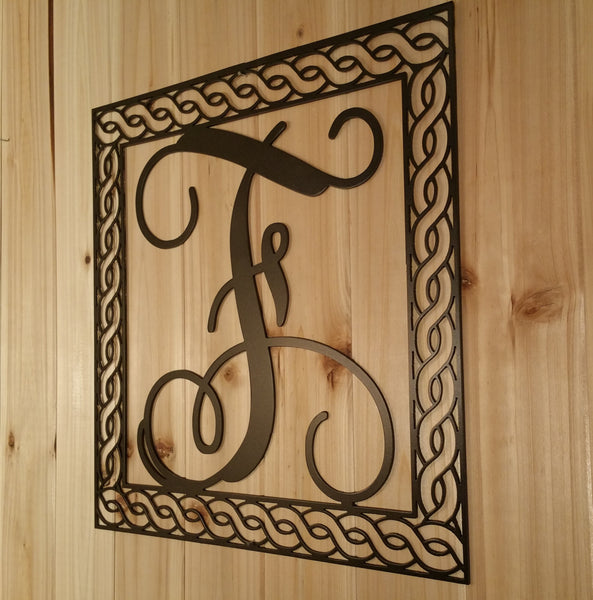 Wall Hanging Metal Vine Monogram Initial With Detailed Rope Border - Sam's Metal Works - 1