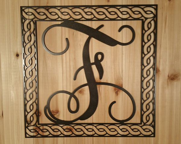 Wall Hanging Metal Vine Monogram Initial With Detailed Rope Border - Sam's Metal Works - 2