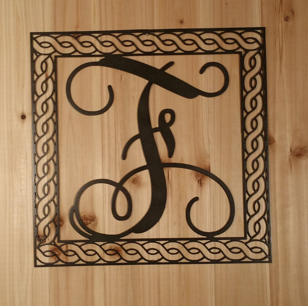 Wall Hanging Metal Vine Monogram Initial With Detailed Rope Border - Sam's Metal Works - 3