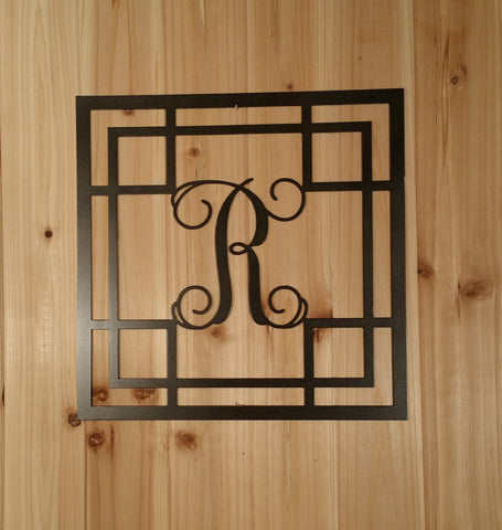 Metal Vine Monogram Initial with Detailed Square Border for Indoor or Outdoor Use - Sam's Metal Works - 1