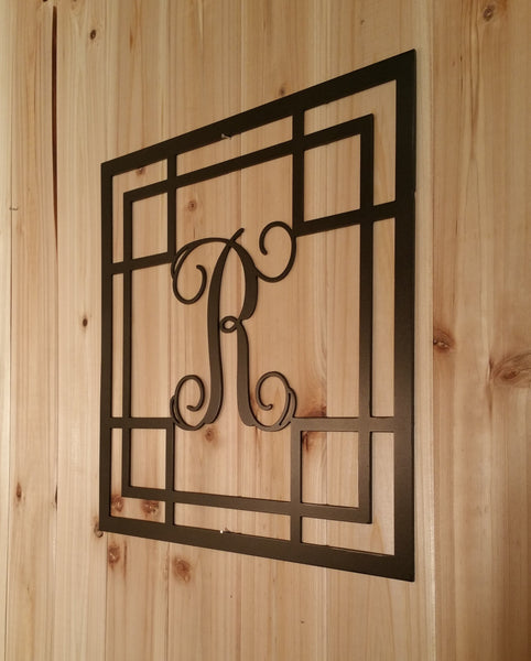 Metal Vine Monogram Initial with Detailed Square Border for Indoor or Outdoor Use - Sam's Metal Works - 2
