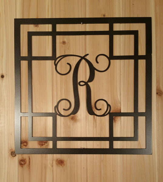 Metal Vine Monogram Initial with Detailed Square Border for Indoor or Outdoor Use - Sam's Metal Works - 3