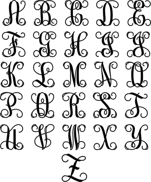 Metal Vine Monogram Initial with Detailed Square Border for Indoor or Outdoor Use - Sam's Metal Works - 4