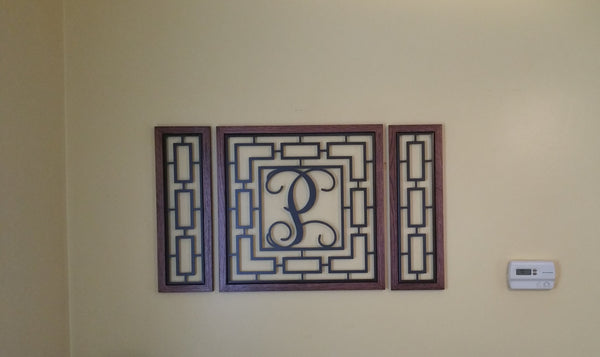 Monogrammed Rectangular Wall Grouping with Solid Oak Border - Sam's Metal Works - 4
