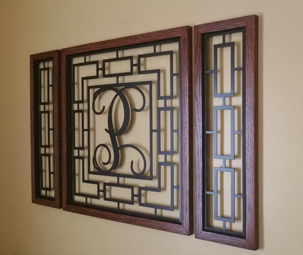 Monogrammed Rectangular Wall Grouping with Solid Oak Border - Sam's Metal Works - 2
