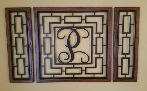 Monogrammed Rectangular Wall Grouping with Solid Oak Border - Sam's Metal Works - 3