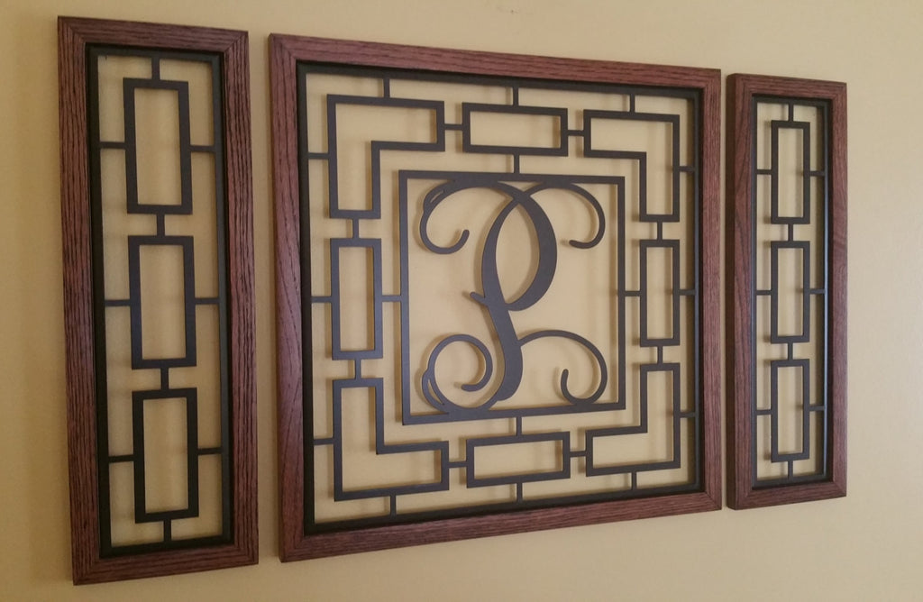 Monogrammed Rectangular Wall Grouping with Solid Oak Border - Sam's Metal Works - 1
