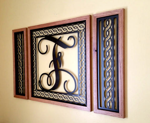 Handcrafted Rope Border Monogrammed  Wall Grouping with Solid Oak Border - Sam's Metal Works - 1
