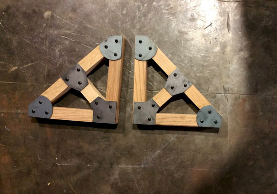 Handcrafted Wood Truss Shelf Bracket Set with Steel Gussets - Sam's Metal Works - 2