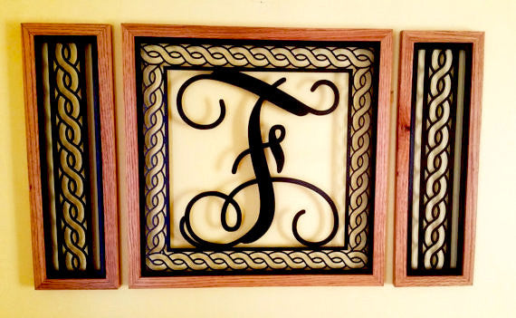 Handcrafted Rope Border Monogrammed  Wall Grouping with Solid Oak Border - Sam's Metal Works - 2