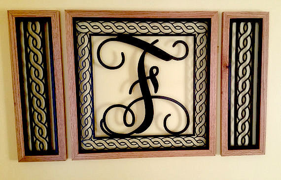 Handcrafted Rope Border Monogrammed  Wall Grouping with Solid Oak Border - Sam's Metal Works - 3