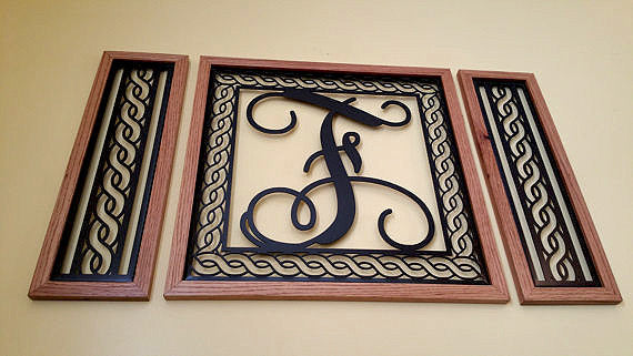 Handcrafted Rope Border Monogrammed  Wall Grouping with Solid Oak Border - Sam's Metal Works - 4